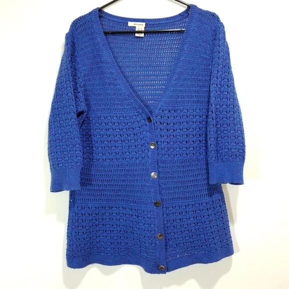 DKNY Knit Cardigan w/ Blue and Purple